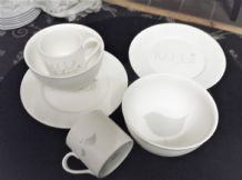 2 X MARKS & SPENCER SOFT WHITE GLAZE HELLO BABY BREAKFAST SETS PLATES MUGS BOWLS